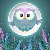 Färgrikt kort med den gulliga lilla den flygaugglan och fullmånen royaltyfri illustrationer