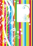 Färgrikt kort med linjer och blommor stock illustrationer