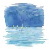 Färgrikt landskap för vattenfärg med fartygsegling i havet, Arkivbild