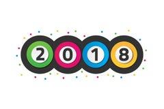 Färgrikt lyckligt nytt år 2018 med cirkelbegrepp stock illustrationer