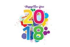 Färgrikt lyckligt nytt år 2018 med färgstänkbegrepp vektor illustrationer