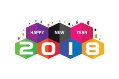 Färgrikt lyckligt nytt år 2018 med sexhörningsbegrepp royaltyfri illustrationer