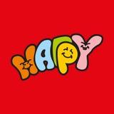Färgrikt lyckligt ord Arkivfoto