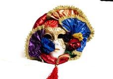 Färgrikt med den guld- eleganta traditionella venetian maskeringen arkivfoton