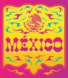 Färgrikt Mexico tecken - mexikansk affisch Arkivfoto