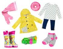 Färgrikt mode för liten flicka som beklär collage för våren som isoleras på vit arkivfoton