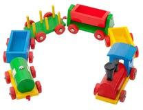 färgrikt model järnväg trä Royaltyfri Bild