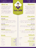 Färgrikt modernt meritförteckningprogram - vitaemall med designele stock illustrationer