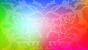 Färgrikt modernt suddigt lutningkort med blommor, damast stock illustrationer
