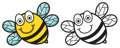 Färgrikt och svartvitt bi vektor illustrationer