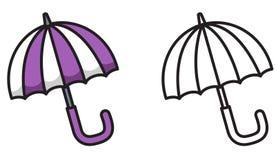 Färgrikt och svartvitt paraply för färgläggningbok Royaltyfria Bilder