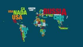 Färgrikt ordmoln av världskartan i upplösning 4k stock video