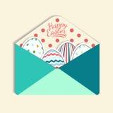 Färgrikt pappers- postkuvert med ett påskägg, vektor Royaltyfri Bild