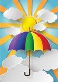 Färgrikt paraply som högt flyger i luften Royaltyfria Bilder