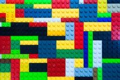 Färgrikt plast- byggnadskvarter Fotografering för Bildbyråer