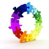 färgrikt pusselhjul för diagram 3d royaltyfri illustrationer