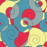 Färgrikt röra sig i spiral seamless mönstrar Arkivfoto