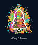 Färgrikt retro hälsningkort för julgran Royaltyfri Fotografi