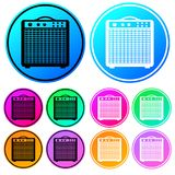 Färgrikt runt, uppsättning för symbol för förstärkare för lutninggitarrampere Svartvita översiktsvariationer Fem färgvariationer royaltyfri illustrationer