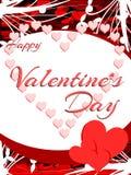 Färgrikt Sankt valentin kort för daghälsning med hjärtor Arkivbild