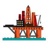 Färgrikt skissa av den olje- plattformen för havet Royaltyfri Foto