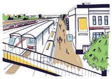 Färgrikt skissa den bästa sikten av järnvägsstationen, plattformar med passagerare Hand tecknad vektorillustration vektor illustrationer