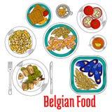 Färgrikt skissa disk av infödd belgisk kokkonst vektor illustrationer
