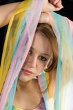 färgrikt skyla kvinnan Fotografering för Bildbyråer