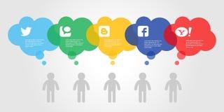 Färgrikt socialt informationsdiagram om massmedia också vektor för coreldrawillustration Royaltyfri Foto