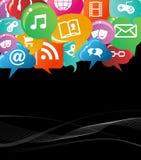 Färgrikt socialt nätverksbegrepp Fotografering för Bildbyråer