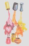färgrikt spika polermedel Arkivbilder