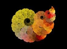 Färgrikt spiralt fractalabstrakt begrepp på svart bakgrund Arkivfoto