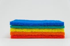 Färgrikt spola ren block med vit bakgrund och den selektiva fokusen Arkivfoto