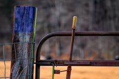 Färgrikt staket Post Royaltyfri Bild