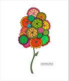 Färgrikt stiliserat träd och text Royaltyfri Bild