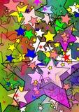 färgrikt stjärnauniversum stock illustrationer