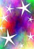 färgrikt stjärnauniversum royaltyfri illustrationer