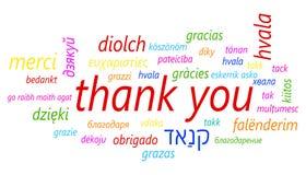 Färgrikt tacka dig i vektorsymbol för många språk Globalt tacka y Arkivbild