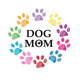 Färgrikt tafsa trycket och hjärta Hundmammatext lycklig moder s för dag royaltyfri illustrationer