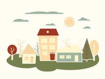 Färgrikt tecknad filmstadslandskap. Pappers- utklipp Arkivfoto