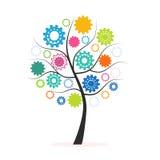 Färgrikt träd för industriellt innovationbegrepp som göras från kugge- och kugghjulvektor stock illustrationer
