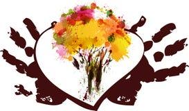 Färgrikt träd i hjärtan vektor illustrationer