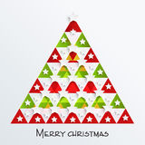Färgrikt träd X-mas för berömmar för glad jul Arkivbilder