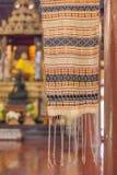 Färgrikt tyg för närbild i den Lanna templet Royaltyfri Fotografi
