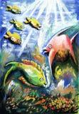 Färgrikt undervattens- liv stock illustrationer