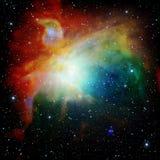 Färgrikt universum fyllde med den stjärnanebulosan och galaxen Royaltyfria Foton