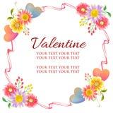 Färgrikt valentinramtema med blom- utsmyckat royaltyfri bild