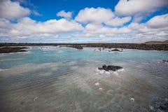 Färgrikt vattenlandskap i den berömda blåa lagun arkivbild