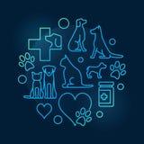 Färgrikt veterinär- sjukhuscirkulärsymbol stock illustrationer