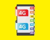 färgsärdrag för anslutning 4G stock illustrationer